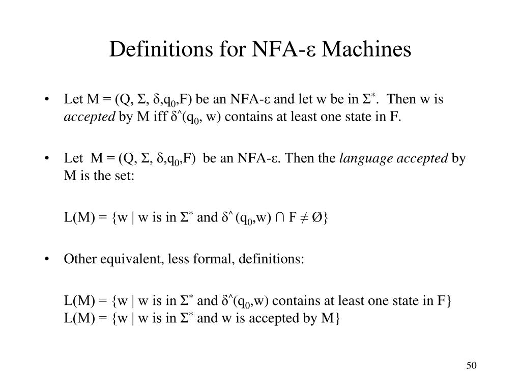 Definitions for NFA-