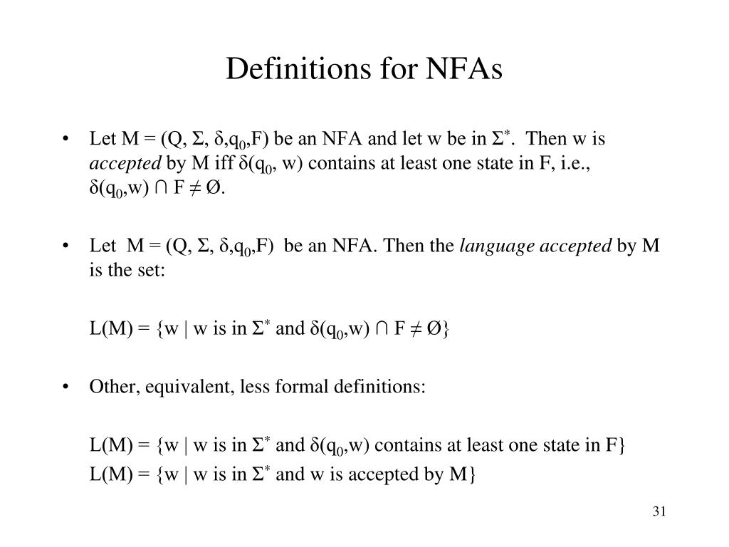 Definitions for NFAs