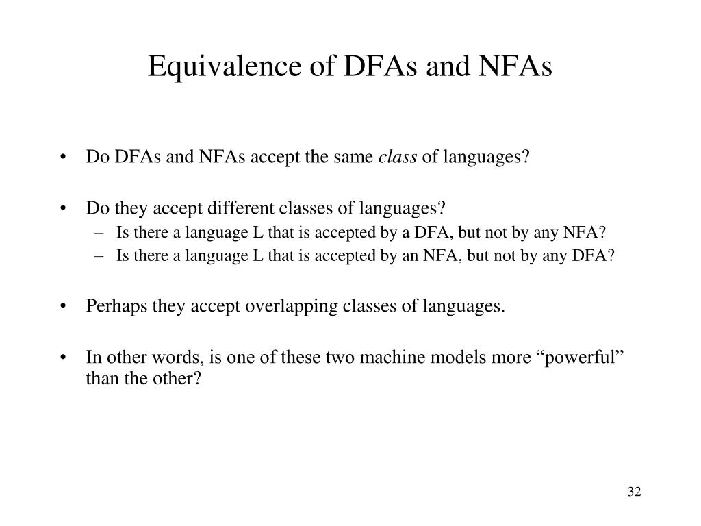 Equivalence of DFAs and NFAs