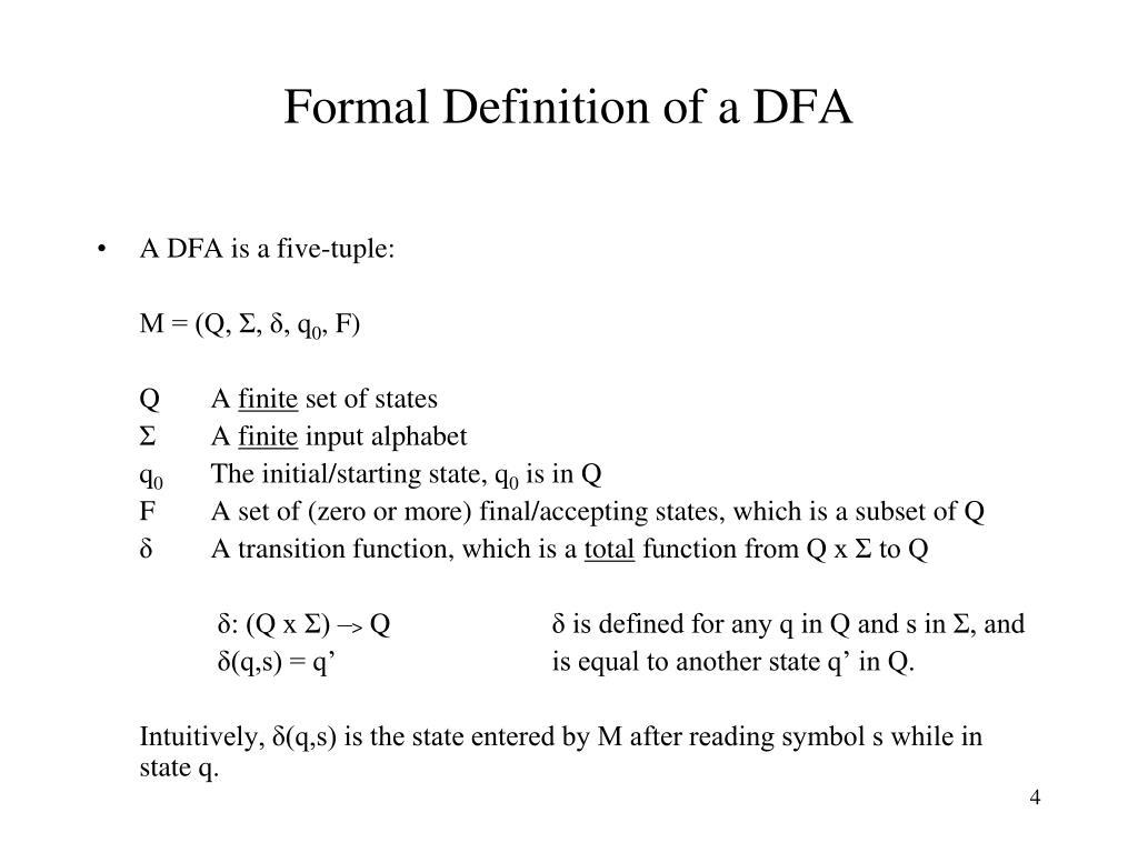 Formal Definition of a DFA