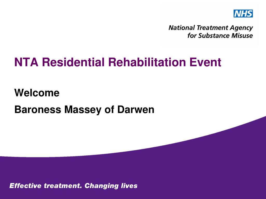 NTA Residential Rehabilitation Event