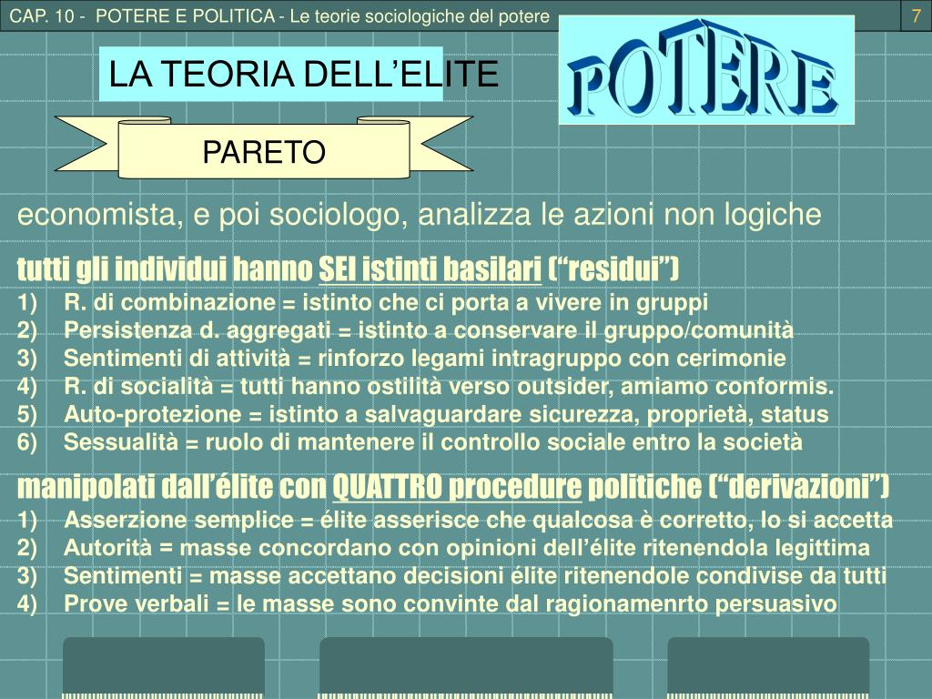 CAP. 10 -  POTERE E POLITICA - Le teorie sociologiche del potere