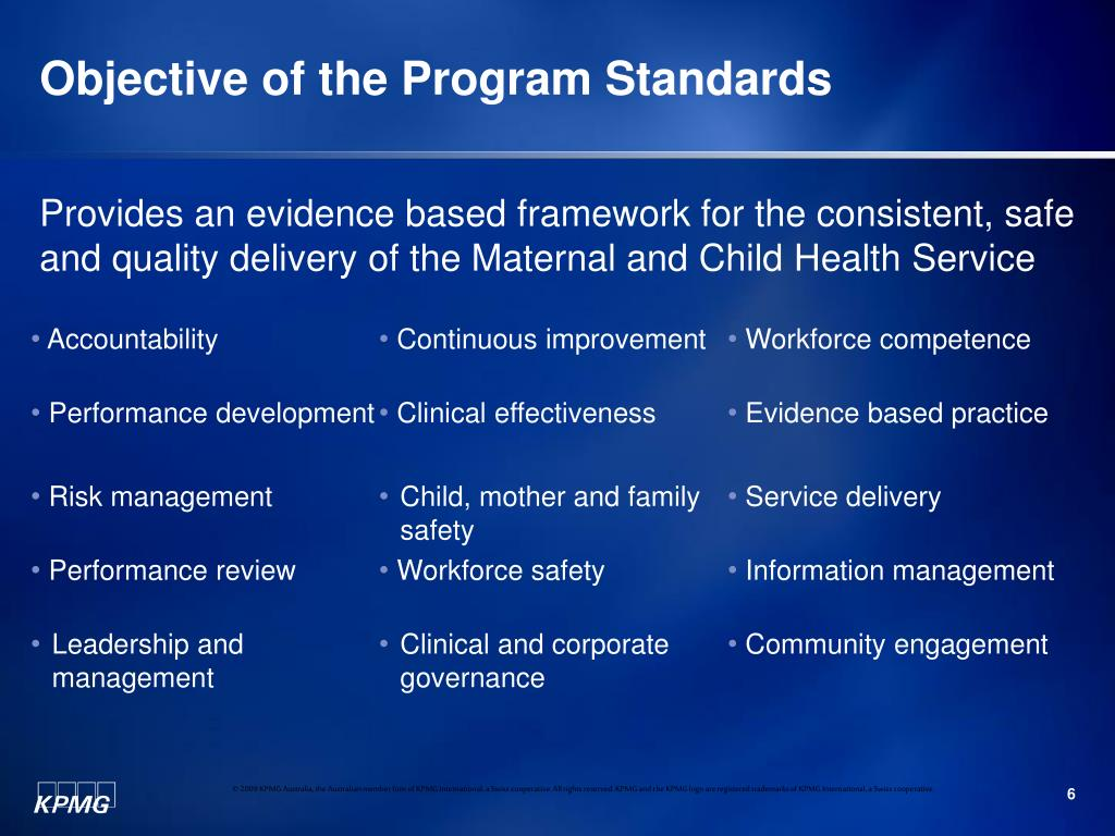 Objective of the Program Standards