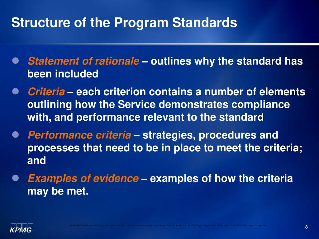 Structure of the Program Standards