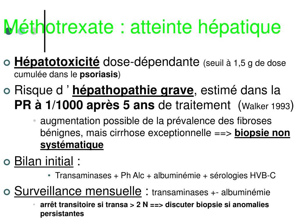 Méthotrexate : atteinte hépatique