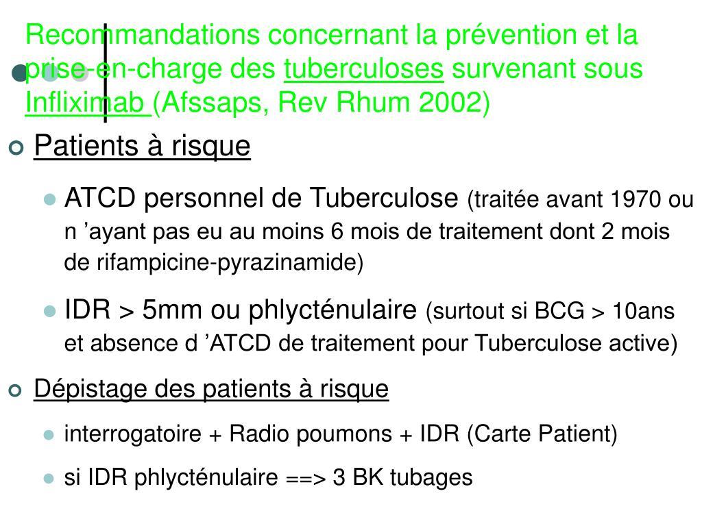 Recommandations concernant la prévention et la prise-en-charge des