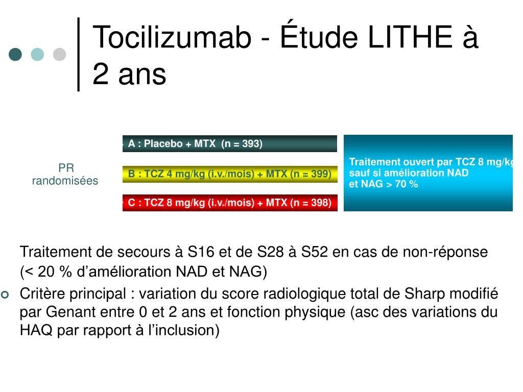 Traitement ouvert par TCZ 8 mg/kg