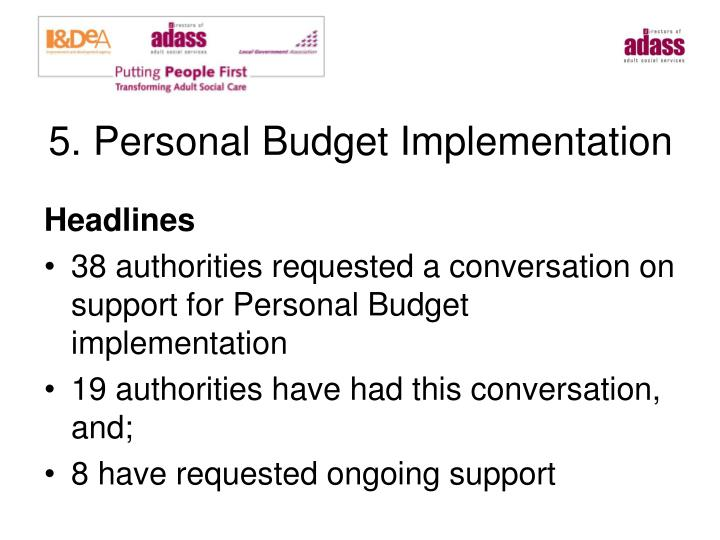 5. Personal Budget Implementation