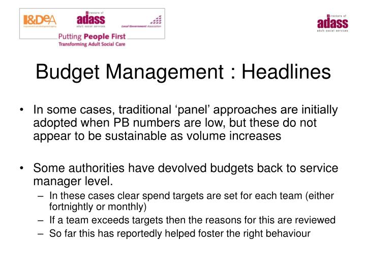 Budget Management : Headlines