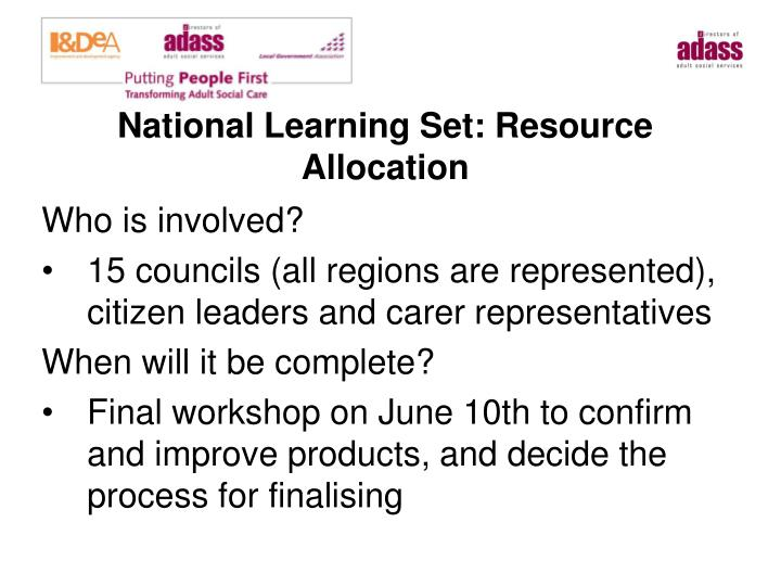 National Learning Set: Resource Allocation