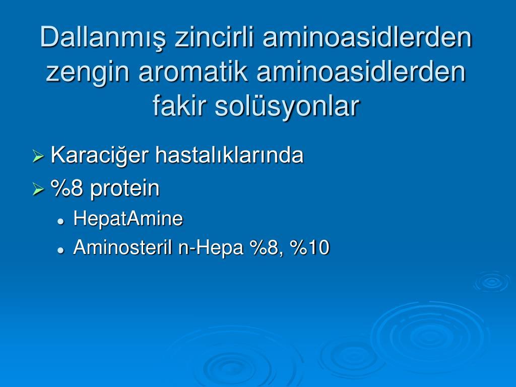 Dallanmış zincirli aminoasidlerden zengin aromatik aminoasidlerden fakir solüsyonlar
