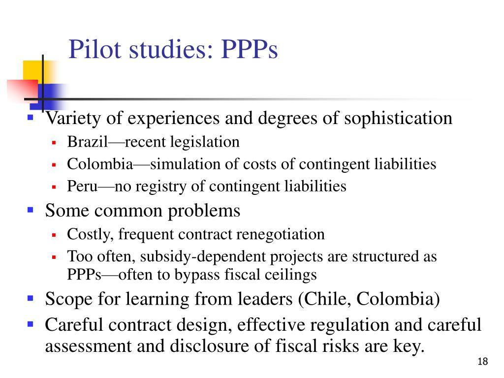 Pilot studies: PPPs