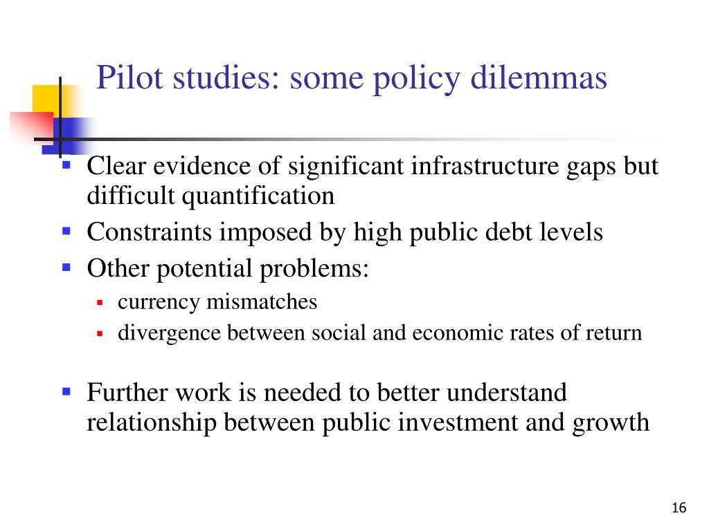 Pilot studies: some policy dilemmas