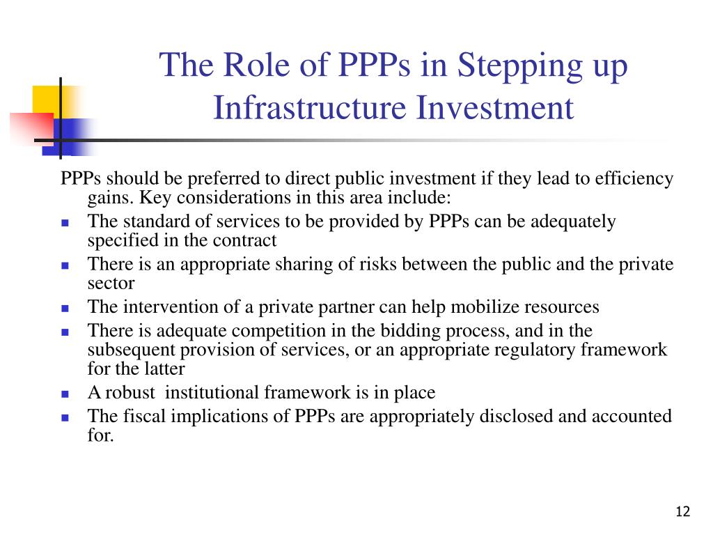 The Role of PPPs in Stepping up Infrastructure Investment