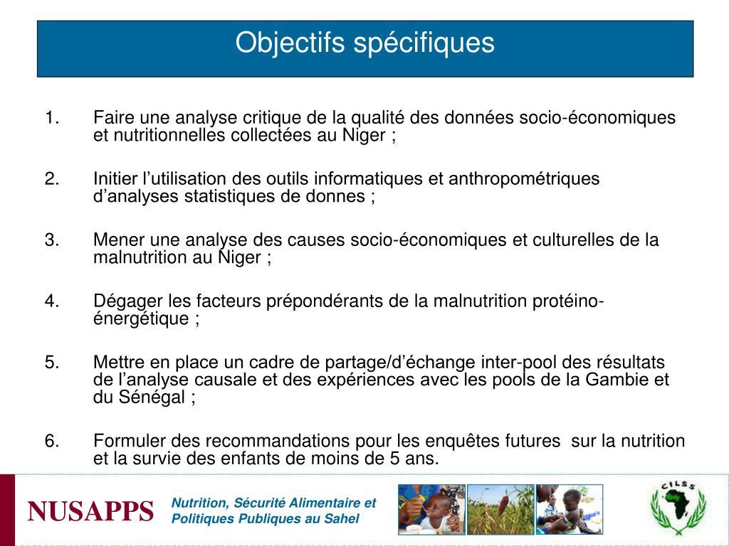 Faire une analyse critique de la qualité des données socio-économiques et nutritionnelles collectées au Niger ;