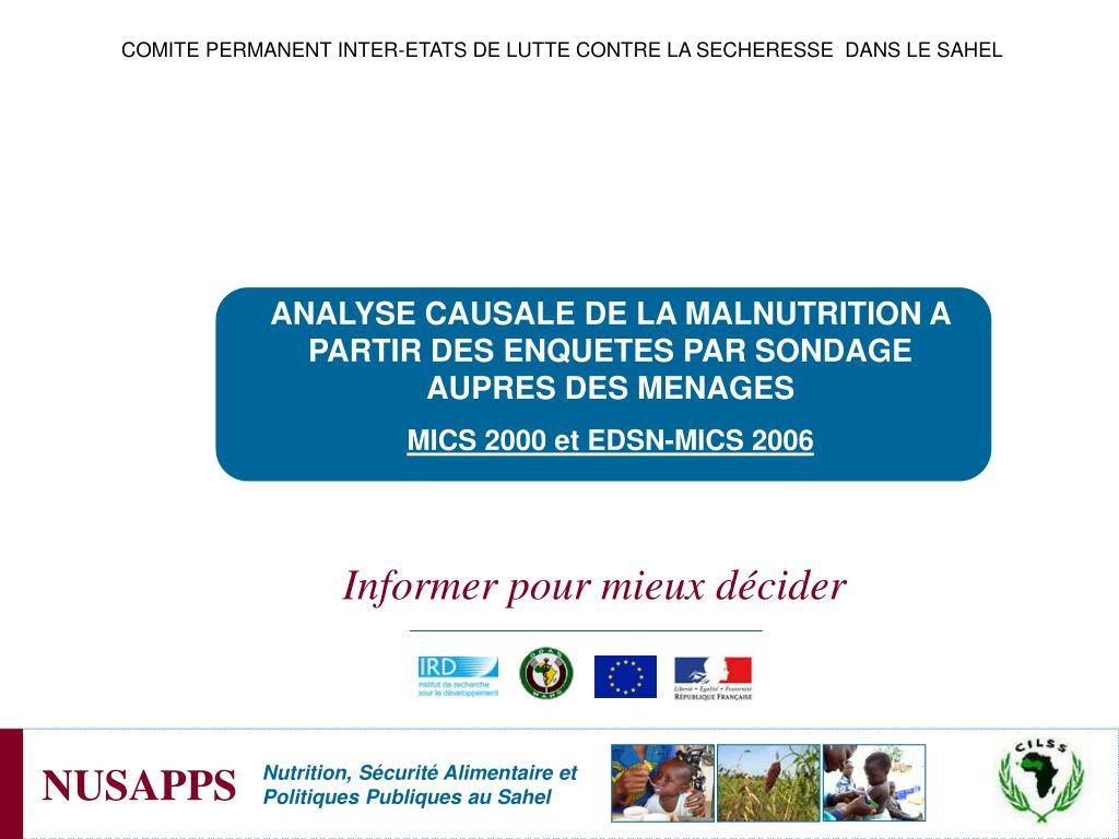 COMITE PERMANENT INTER-ETATS DE LUTTE CONTRE LA SECHERESSE  DANS LE SAHEL