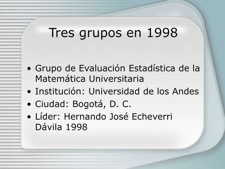 Tres grupos en 1998