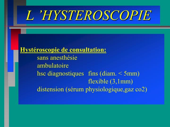 L'HYSTEROSCOPIE