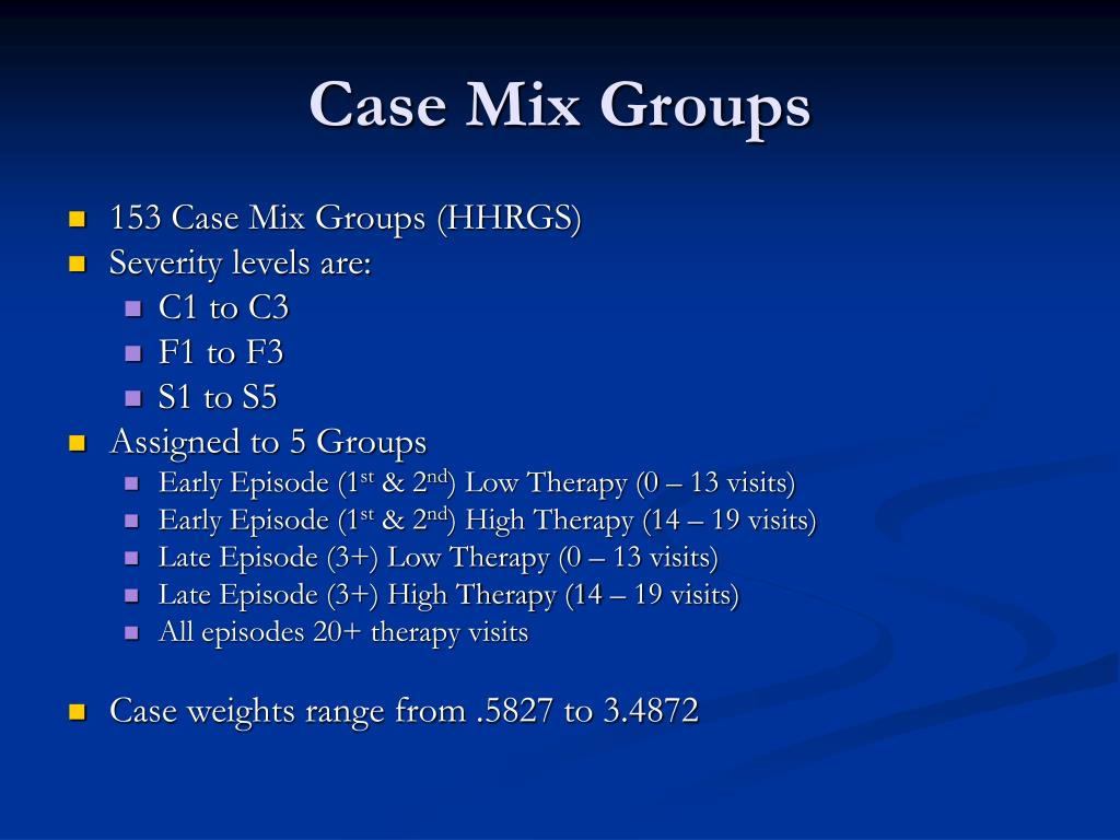 Case Mix Groups