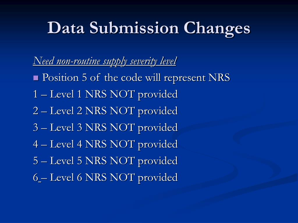 Data Submission Changes