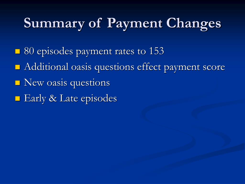 Summary of Payment Changes