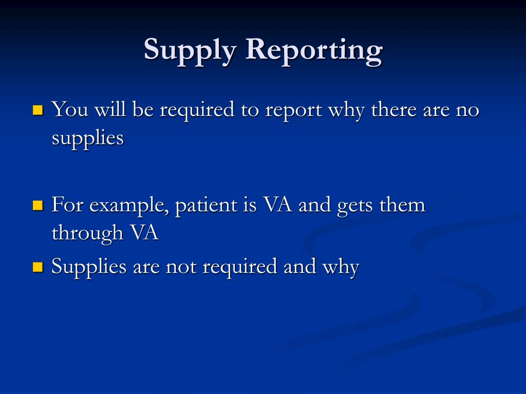 Supply Reporting