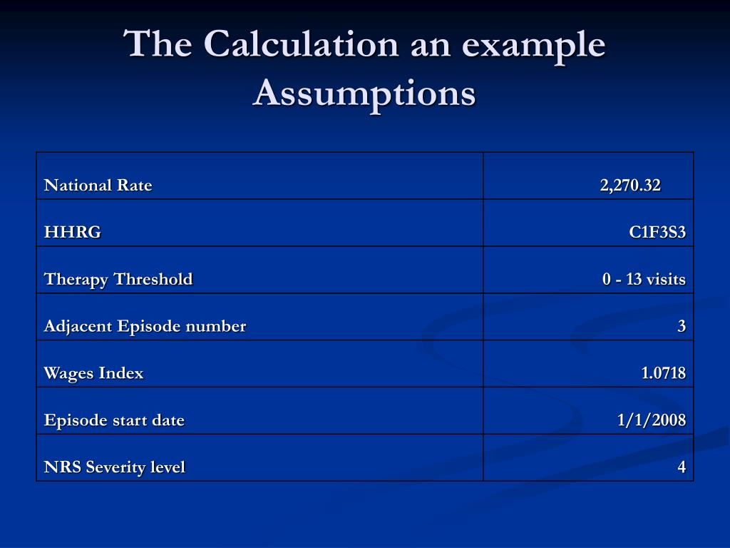 The Calculation an example