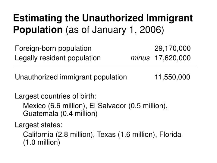 Estimating the Unauthorized Immigrant