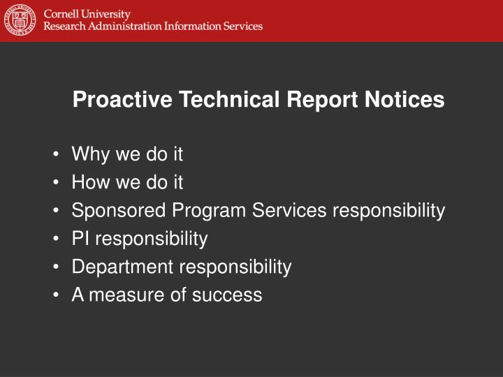 Proactive technical report notices2