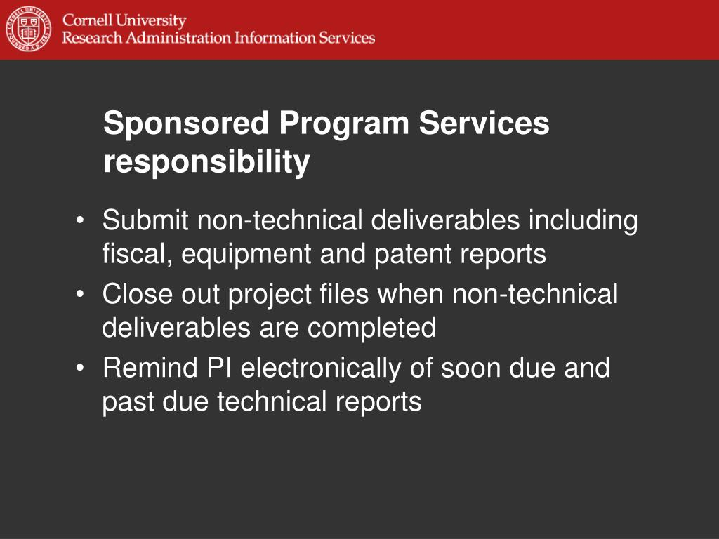 Sponsored Program Services responsibility
