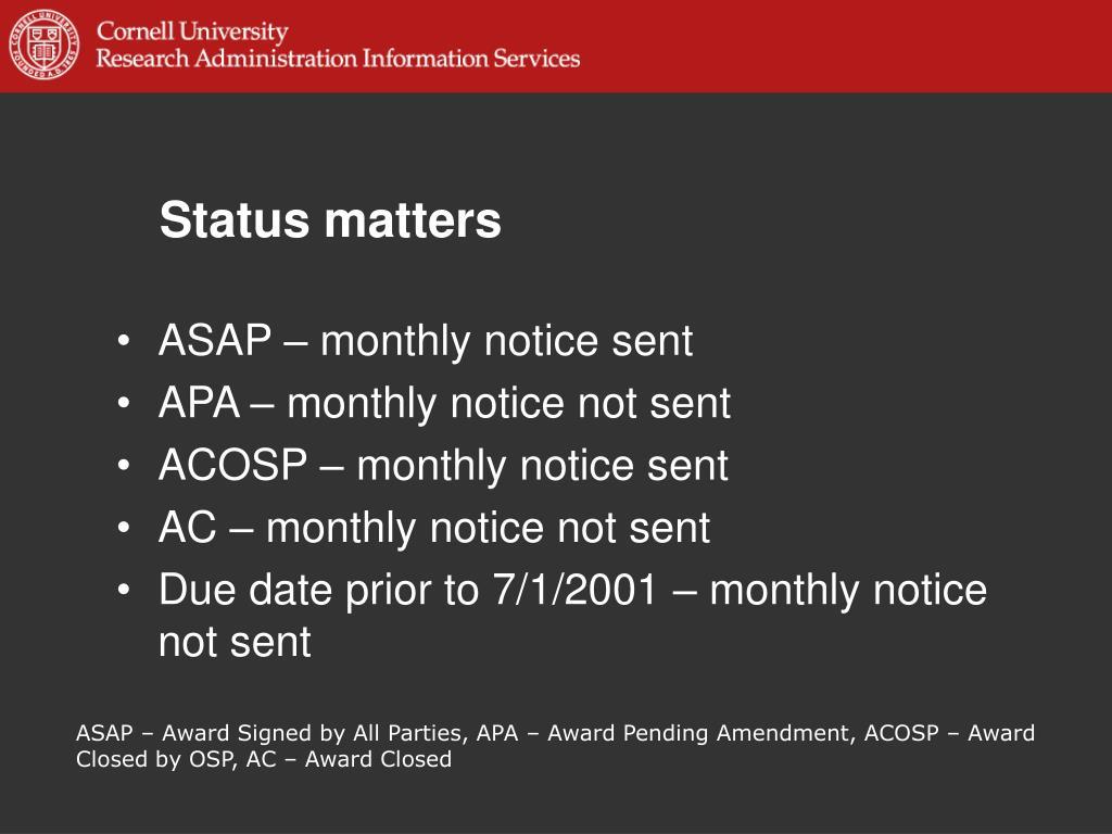 Status matters