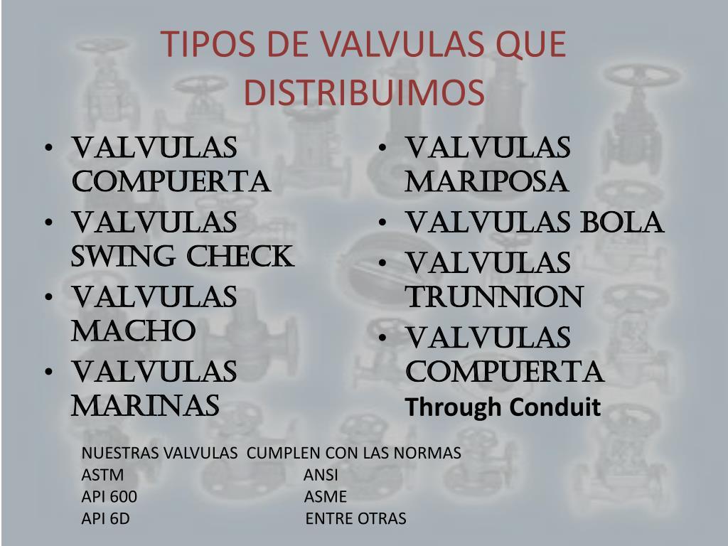 TIPOS DE VALVULAS QUE DISTRIBUIMOS