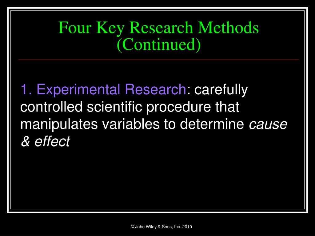 Four Key Research Methods (Continued)