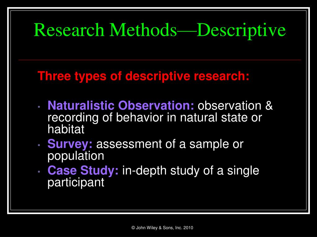Research Methods—Descriptive