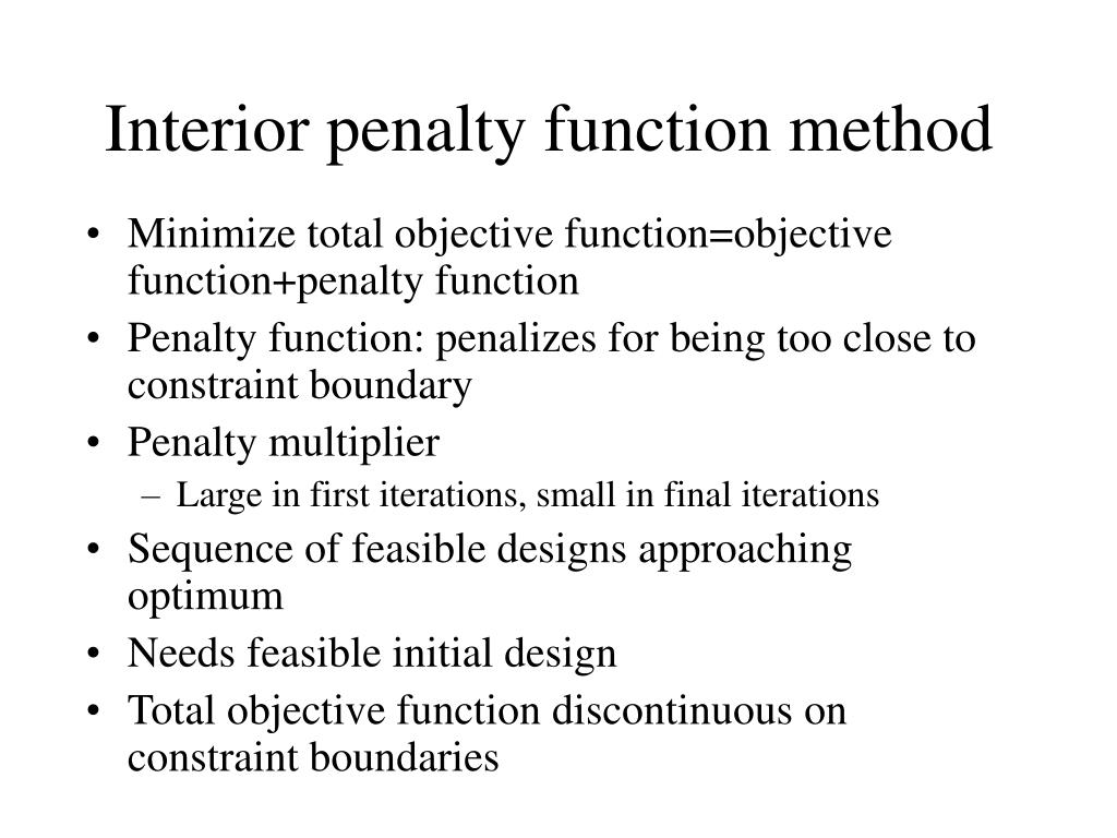 Interior penalty function method