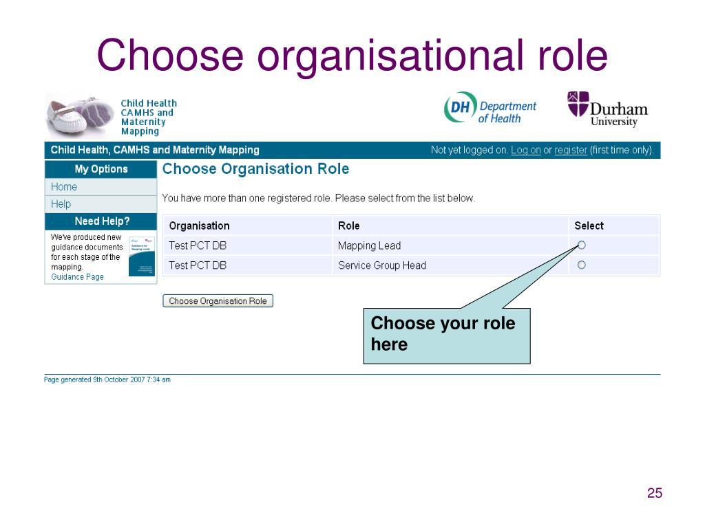 Choose organisational role