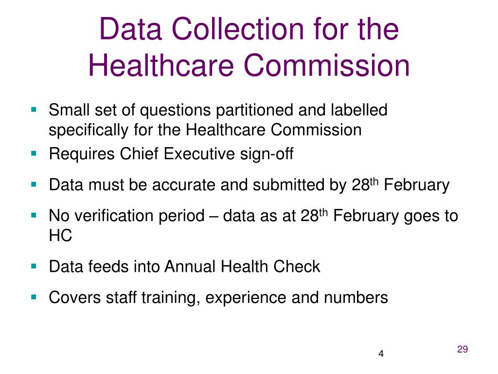 Data Collection for the Healthcare Commission