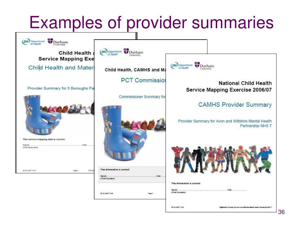 Examples of provider summaries