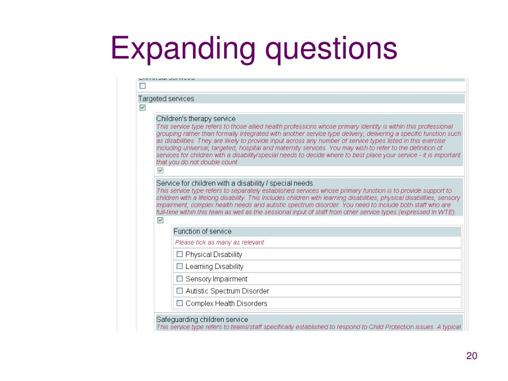 Expanding questions