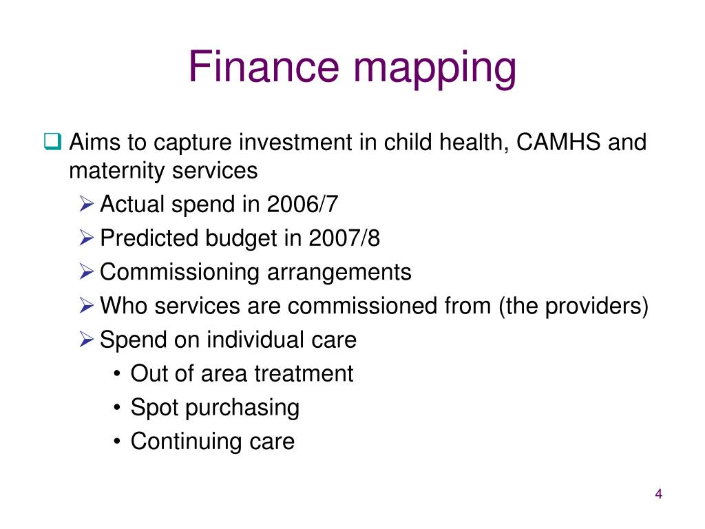 Finance mapping