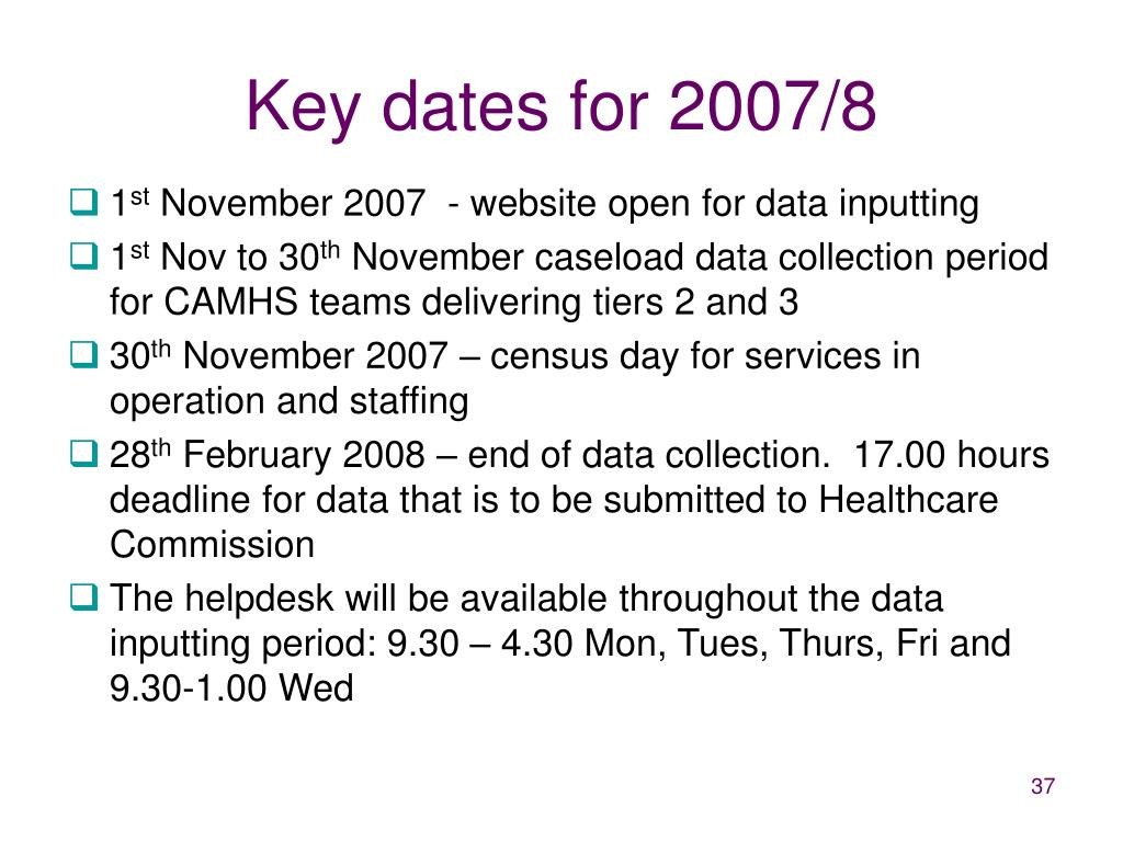 Key dates for 2007/8