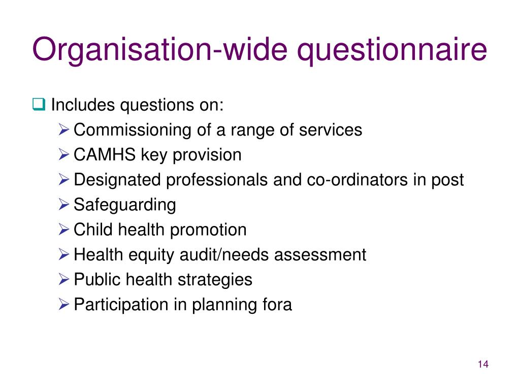 Organisation-wide questionnaire