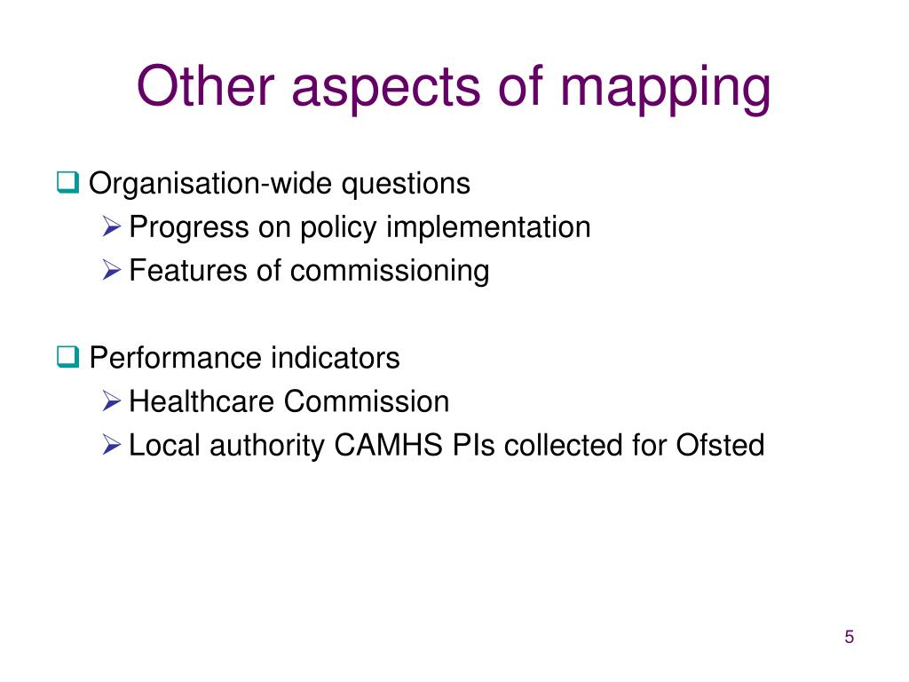Other aspects of mapping