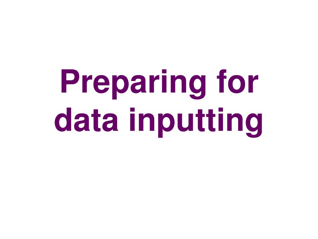 Preparing for data inputting