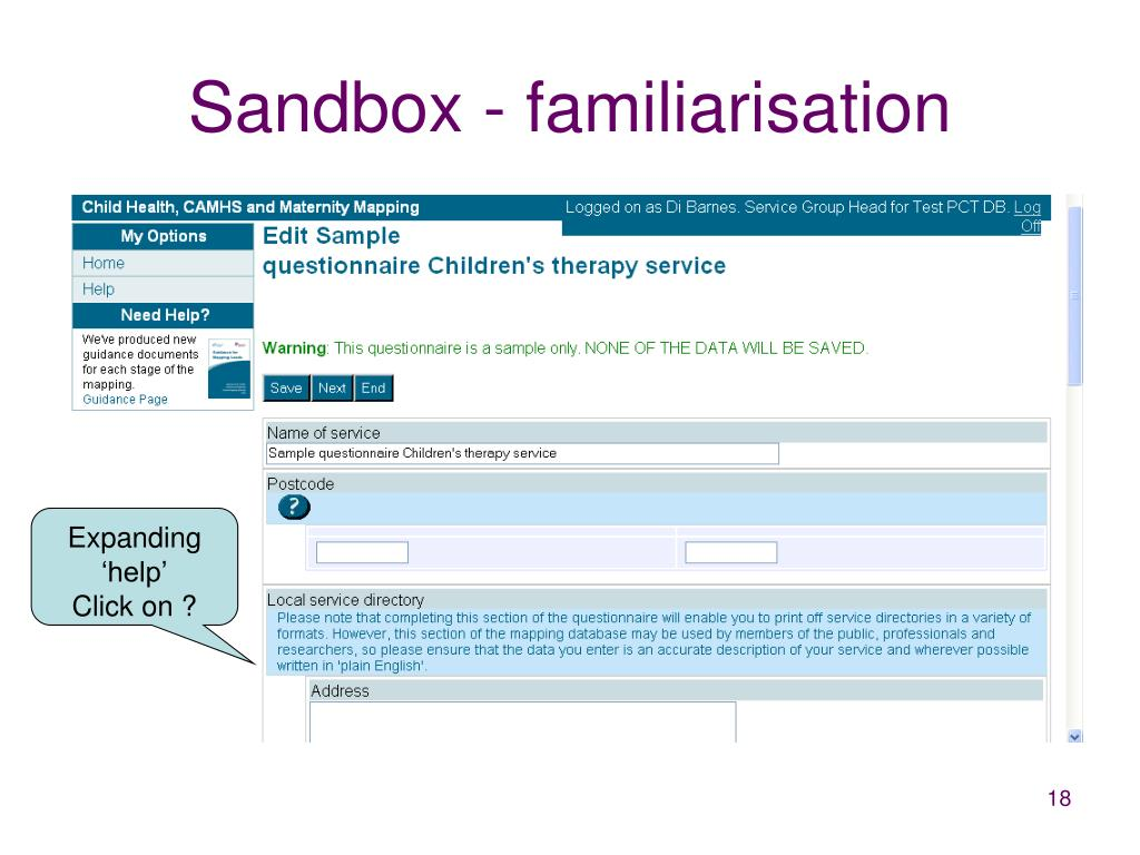 Sandbox - familiarisation