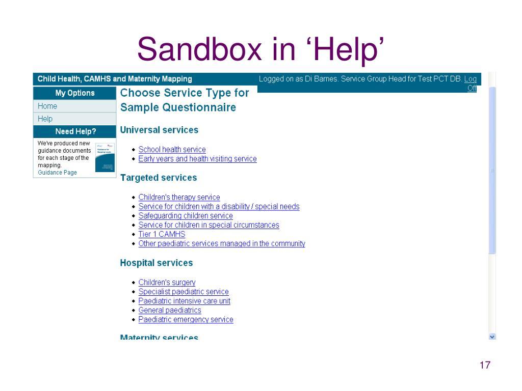 Sandbox in 'Help'