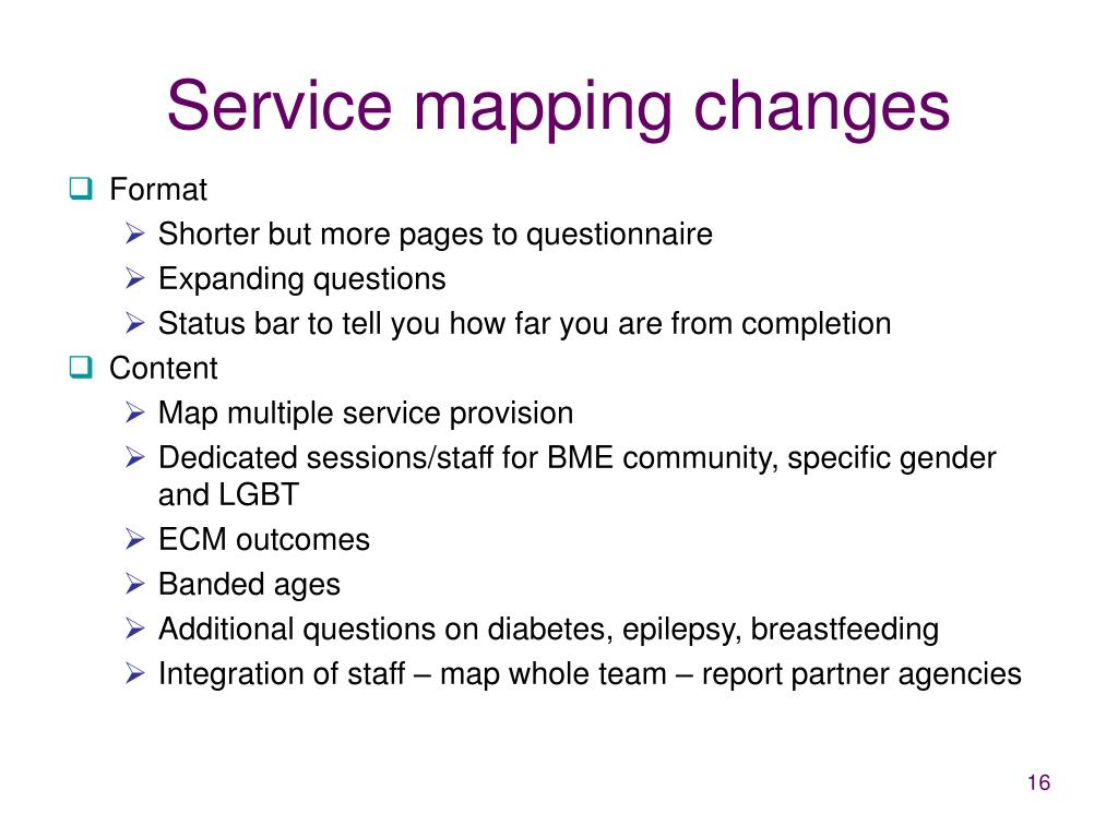 Service mapping changes