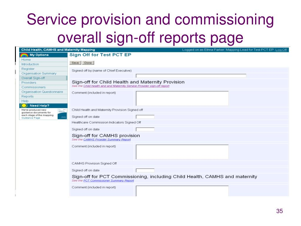 Service provision and commissioning overall sign-off reports page
