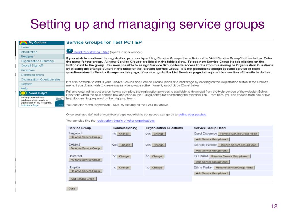 Setting up and managing service groups