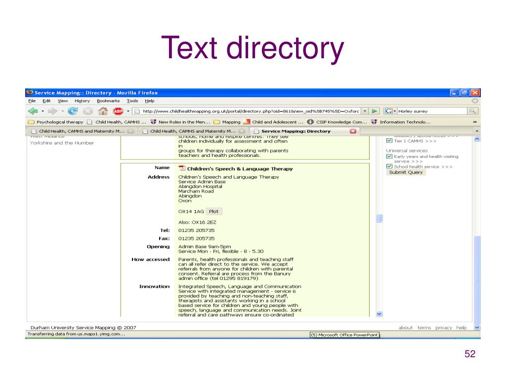 Text directory
